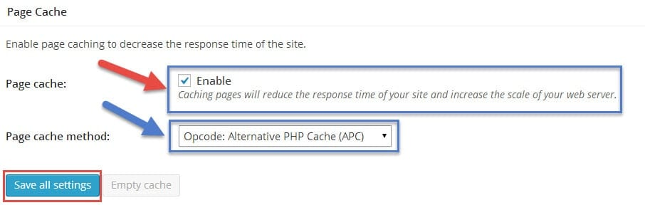 enable page cache in wordpress