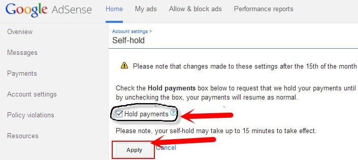 payment settings on google adsense