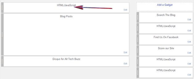 add a wdiget top of blog posts