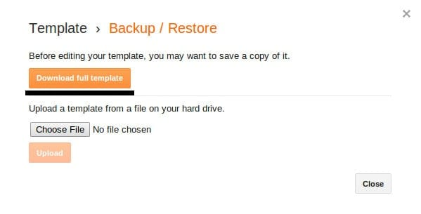 how to backup a template2
