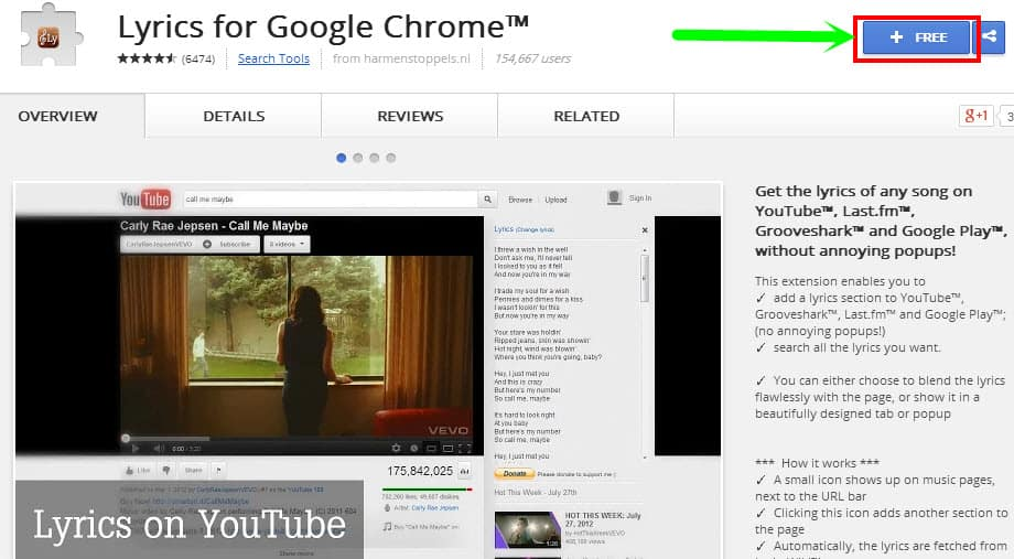 install lyrics for google chrome extension