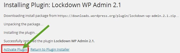 installing lockdown wp adminplugin