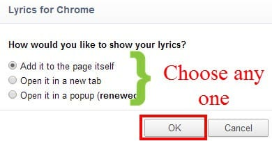 lyrics options on google chrome extension