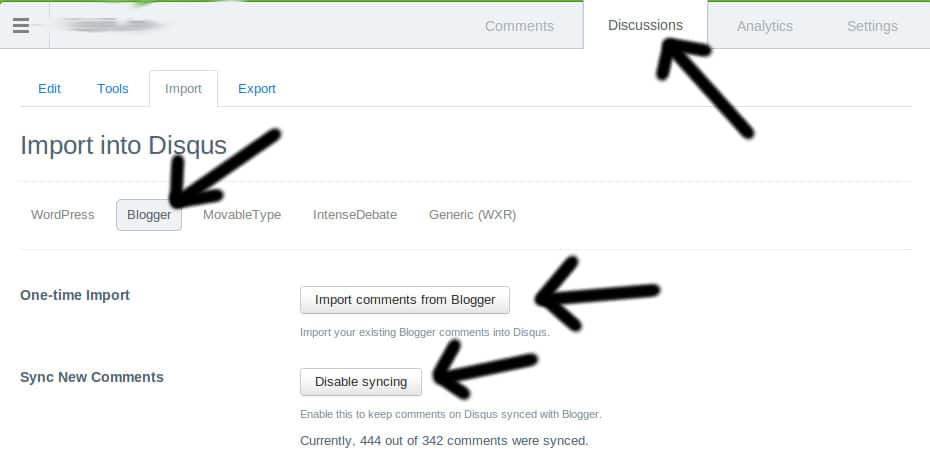 sync disqus with blogger