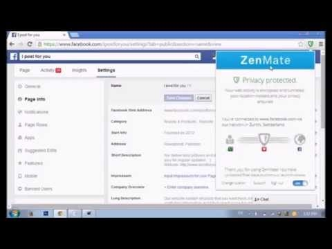 Change facebook page name - Zen Mate Extension