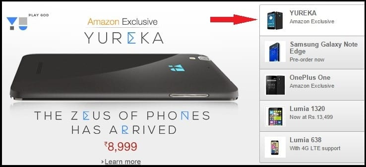 Get Yureka Mobile by Registering into Amazon.in