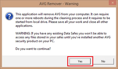 AVG removal tool