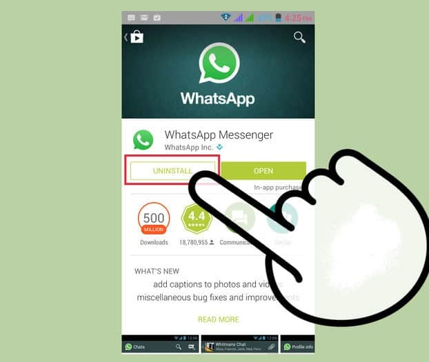 Uninstall-whatsapp