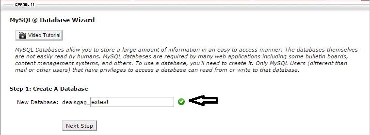 create database name