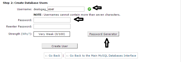 create database user