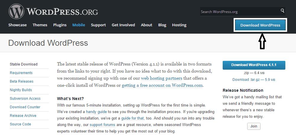 download wordpress installation pack