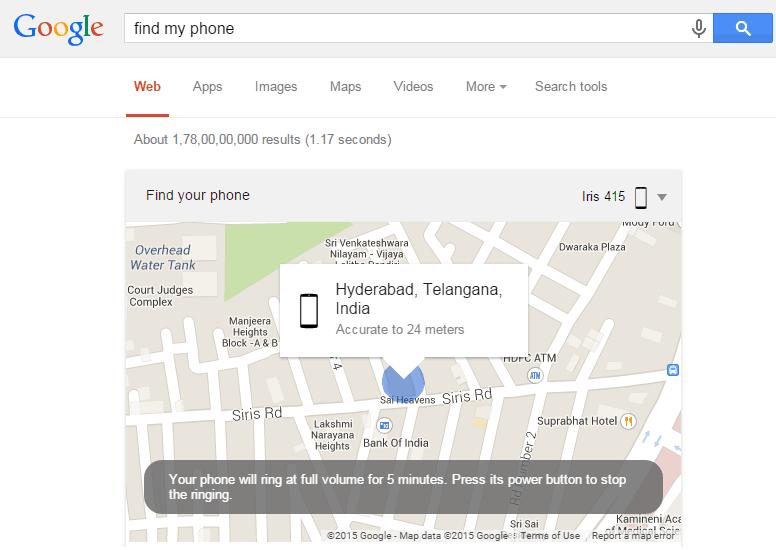 google located the location