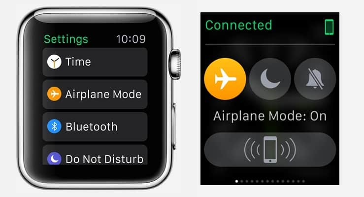 Settings on apple watch