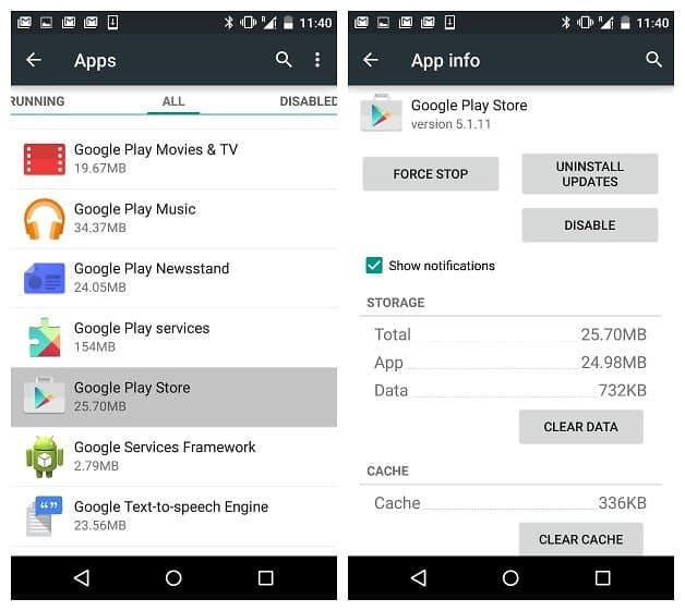 Clear Cache of Google Play Store to Fix play store error 498