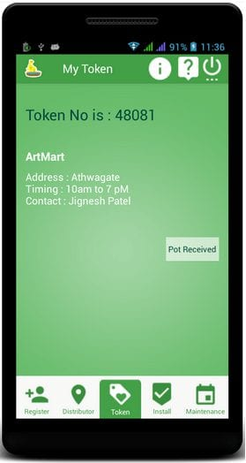Bird Tap app- Token Number received