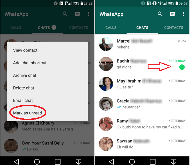 Mark as Unread feature in Whatsapp