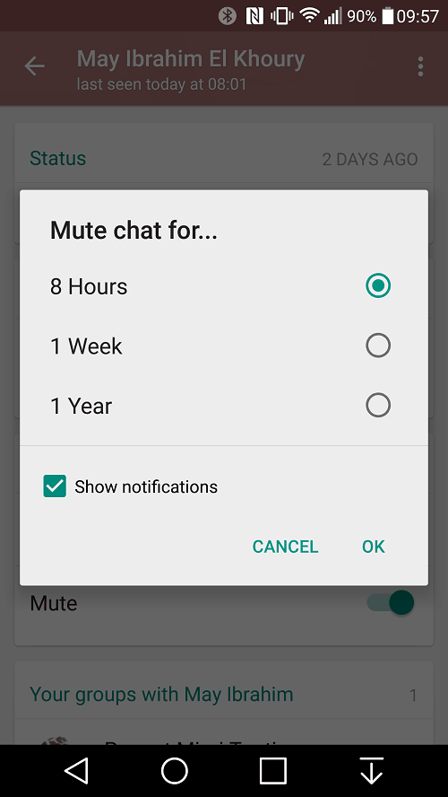 Mute individual contacts feature in Whatsapp