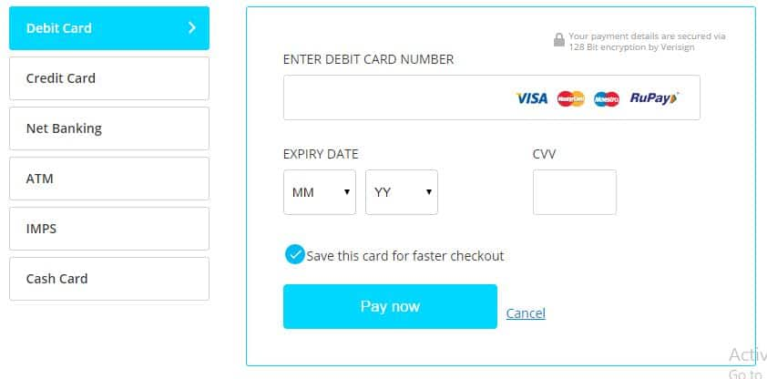 how to make payment through debit card online