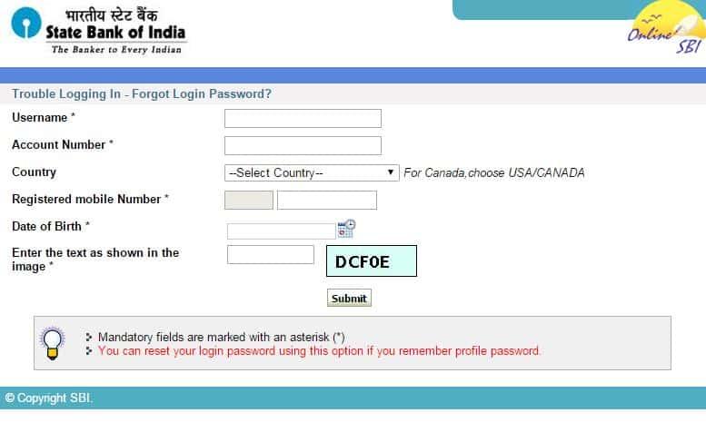 How to Reset SBI Net Banking Login/Profile Password