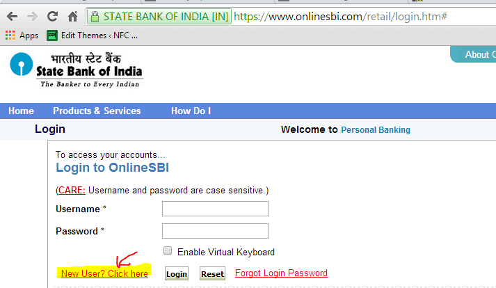 how to get password for sbi internet banking