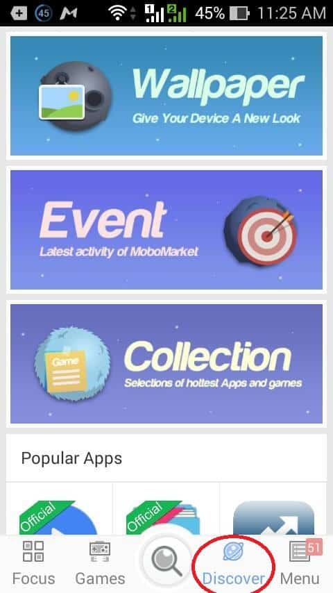 """Discover"" option from MoboMarket App"