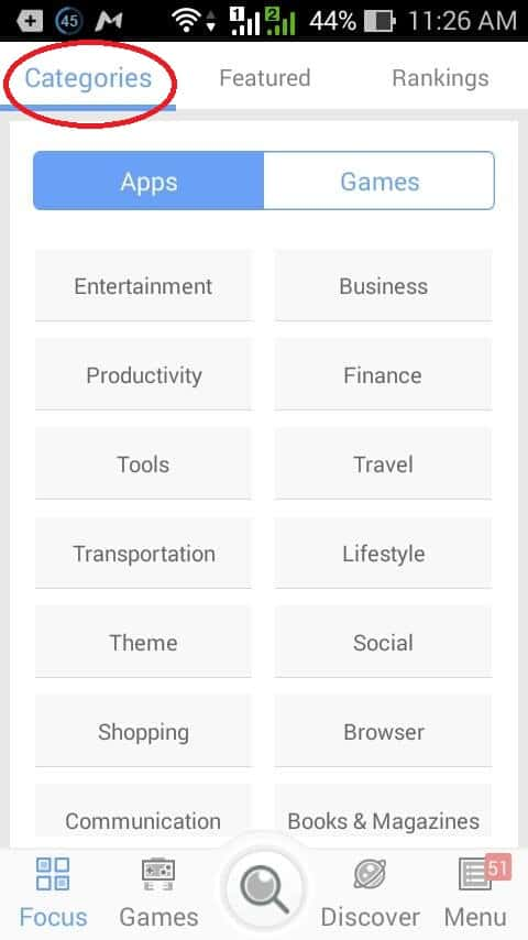categories section from MoboMarket App