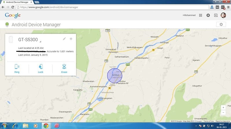 Android Device Manager - Location on Google Map