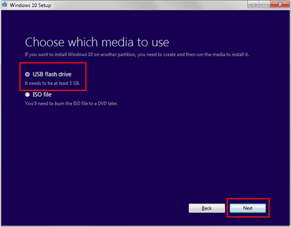 Bootable USB for WIndows 10 - Choose Media