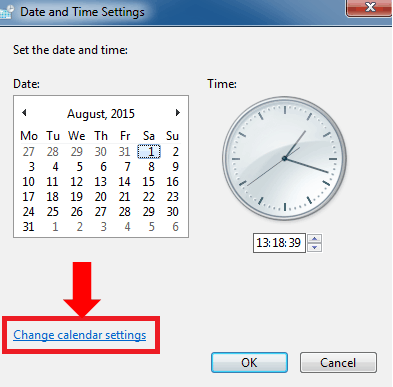 Change Calendar Settings