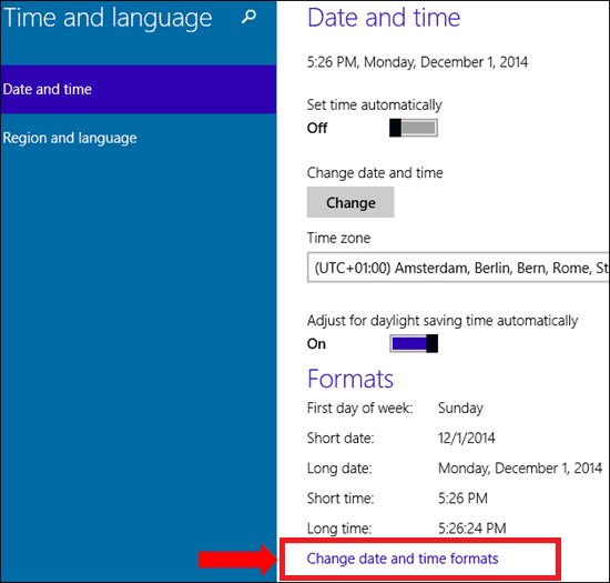 Change Date and time formats in Windows 10