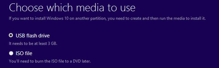 Choose Media - Windows 10 Installation