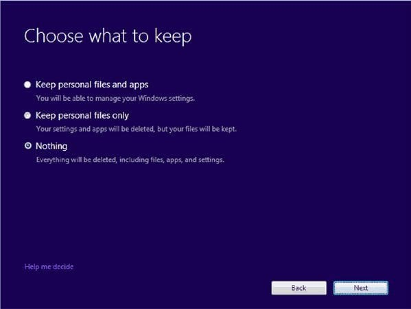 Choose what to keep - windows 10 setup