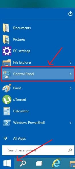 Control panel on Windows 10