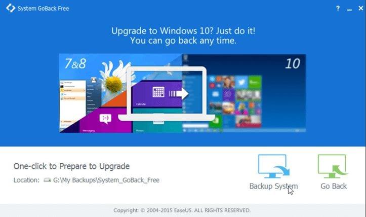 Downgrade Windows 10 using EaseUS System Goback tool