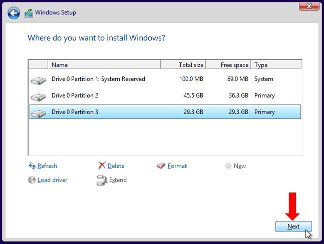Install Windows 10-Allocate Space