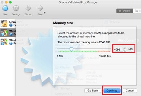 Install Windows 10 on Virtualbox-Allocate Memory
