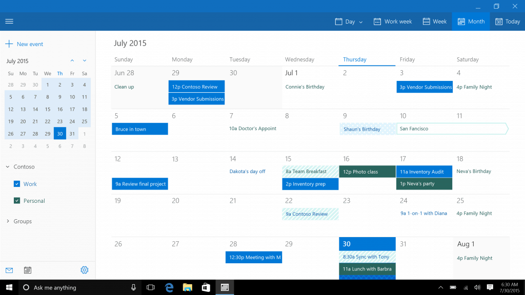 NEW MAIL, CALENDAR, PHOTOS, MAPS windows 10