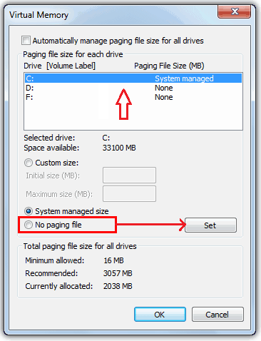 Paging File - Size settings
