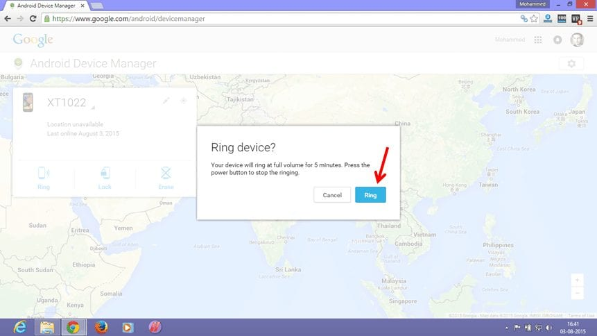 Ring My Phone Using Android Device manager
