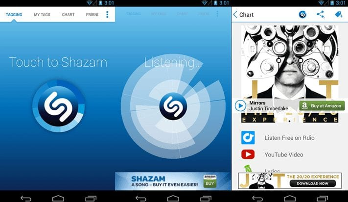 Shazam - audio recognition app