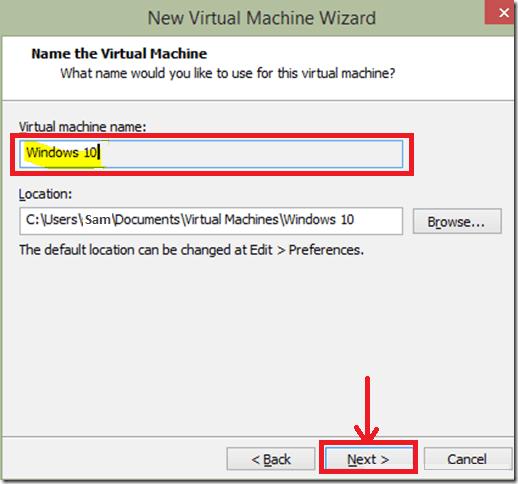 VMware Workstation-Specify Virtual machine name