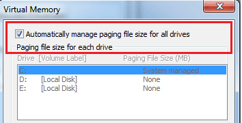 Virtual Memory - Manage Paging file size