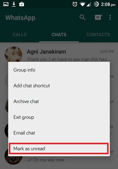WhatsApp - Toggle Chat Mark as Unread