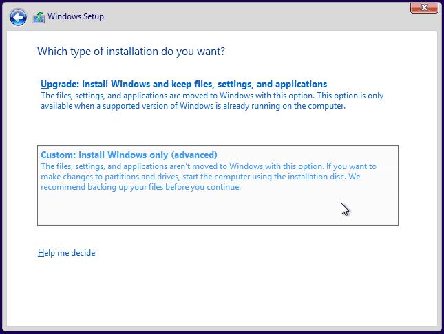 Windows 10 Installation-Select Custom