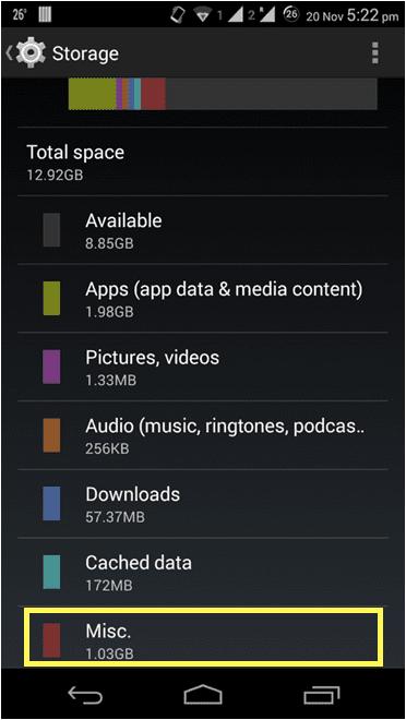 Clear device storage