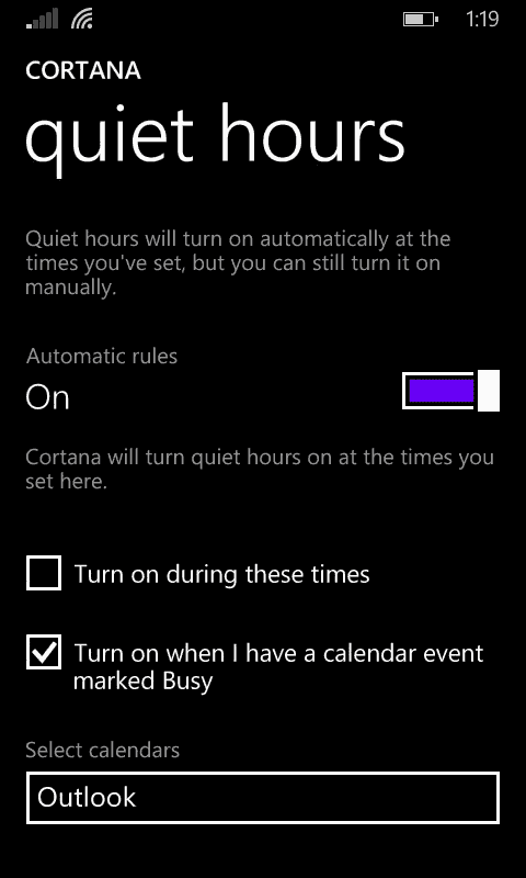 Cortana - Quiet hours