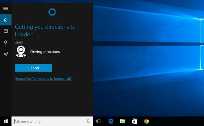 Get Directions using Cortana