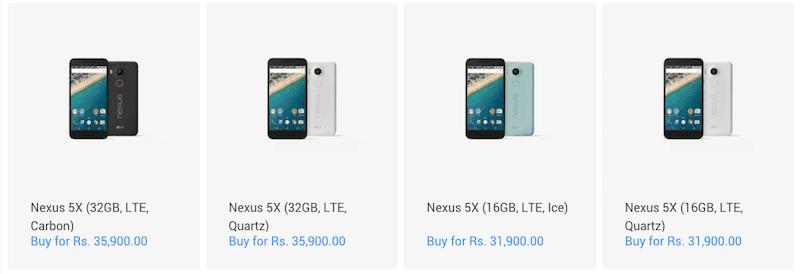 Nexus 5X price in India