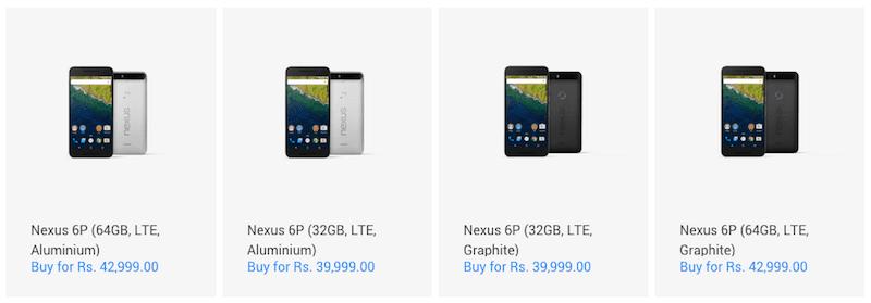 Nexus 6P price in India
