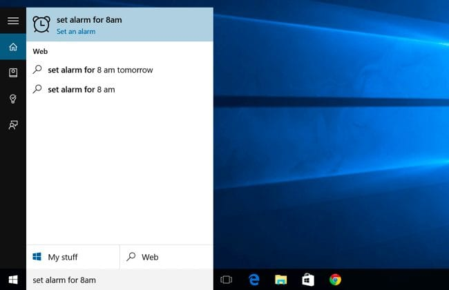 Set alarm using Cortana on Windows 10